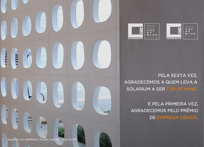 Solarium é Top of Mind e Empresa Cidadã de 2015