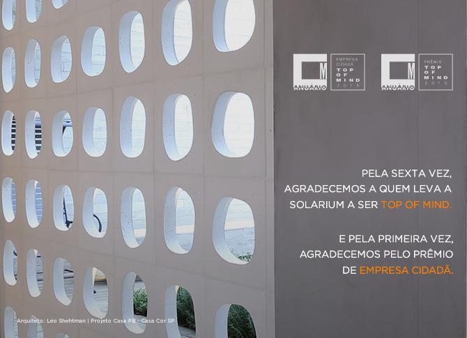 Solarium é Top of Mind e Empresa Cidadã de 2015