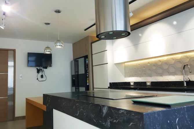 Linha Pixel em cozinha de residência unifamiliar